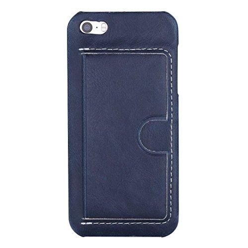 JIALUN-Telefon Fall iPhone 5 5S SE Fall Abdeckung, Einfarbig PU Ledertasche mit U-Design-Kartensteckplatz für iPhone 5 5S SE ( Color : A , Size : IPHONE 5S SE ) E