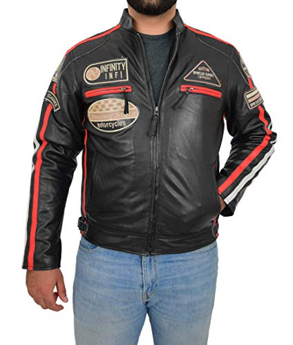 Herren EchHerren Echt Leder Biker Jacke Motorsport Rennen Stil Schlank Passen Ken Schwarz (XX-Large) -