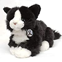 Kuscheltiere.biz Cat GIZMO Male cat black-white lying 30 cm Plush cat Plush toy