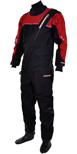 Crewsaver Cirrus Drysuit Including UnderFleece & Dry Bag in Black/RED 6515 Sizes- - Large