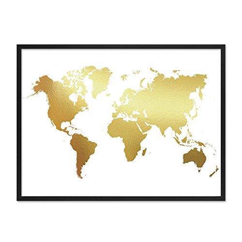 PHOTOLINI Poster mit Bilderrahmen Schwarz 'Weltkarte Gold' 30x40 cm Motiv mit Goldaufdruck Map Design Erde