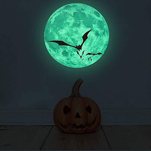 Wandtattoo Halloween Leuchtaufkleber Mond Leuchtsticker Fluoreszierende Aufkleber 30x30cm - Halloween Fenster Leuchtet
