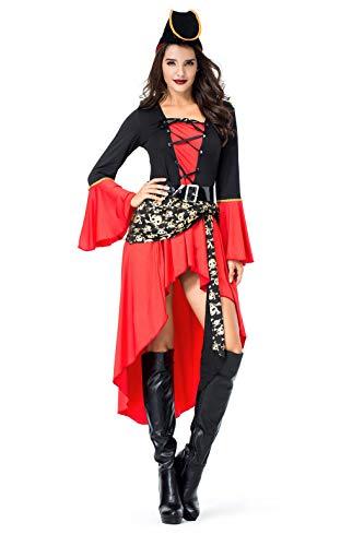 (VENIMASEE Frauen Piraten Kapitän Kostüm Halloween Cosplay Kostüm)