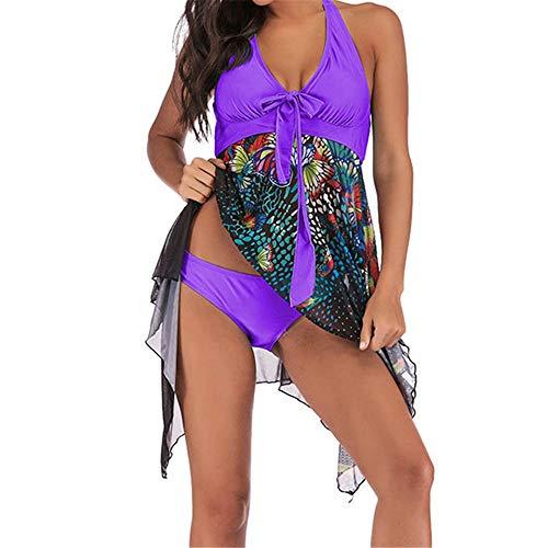 Damen Sport Zweiteiliger Geteilter Badeanzug Frauen Plus Size Schmetterling Drucke Neckholder Backless Skinny Swimdress Tankini Badeanzug 2-Piece Slim Badeanzug Bademode S-5XL Damen Bikini-sets Bademo