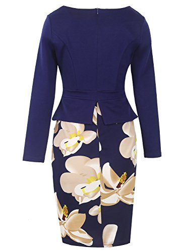 CoCo Fashion Damen Damen Vintage Rundhals Knielangkleid Kontrast  Blumenabend Cocktail kleider Pencil dress Marine