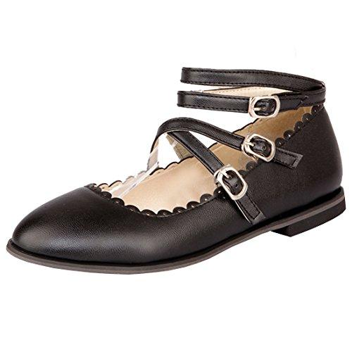Atyche Damen Flache Mary Jane Rockabilly Halbschuhe mit Riemchen und Schnalle Bequem Schuhe