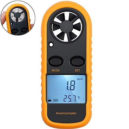 NOBGP Digitales Anemometer Handheld Wind Speed Gauge Air Flow Velocity Meter Messung der Temperatur LCD-Rücklicht für das Windsurfen Kite Flying Surfen Fischen