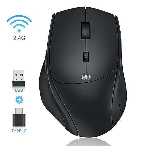 Jelly Comb Kabellose Maus, 2.4G & Typ C Wireless Maus Dual-Modus, Optische Silent Ergonomische Maus Kabellos, 7 Tasten Maus mit USB A/C Empfänger für PC/Laptop/Android Tablet (Schwarz)