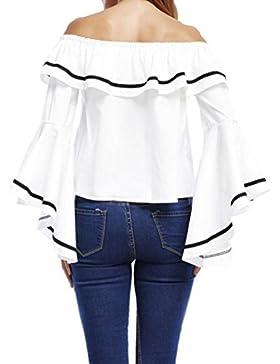IMJONO Mujeres de hombro de manga larga camisa de volantes Casual Tops Blusa camisa