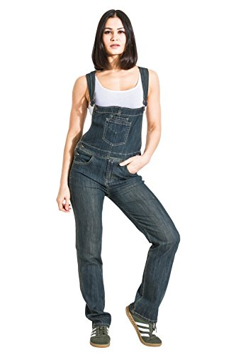 Womens Dark Wash Dungarees Denim Bib Overalls Regular Fit WOM88