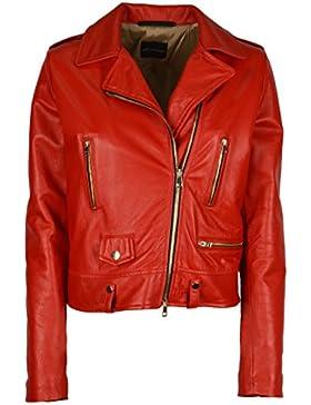 ATOS LOMBARDINI - ATOS LOMBARDINI donna giacca chiodo rosso in vera pelle - 19697