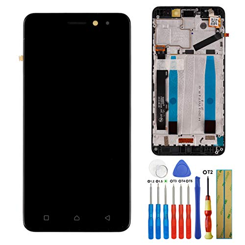 """E-yiiviil Display Kompatibel mit Lenovo K6 K33A48, K33B36 5.\"""" LCD Touch Screen Display Assembly with Tools+Frame(schwarz)"""