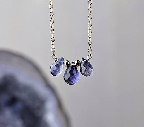 bf8c8c27d7ca5 Delicate Iolite Teardrop Cluster Pendant Necklace, 14k Gold FilledFilled  Filled or Sterling Silver, Faceted Iolite Stone Necklace, Natural Blue ...