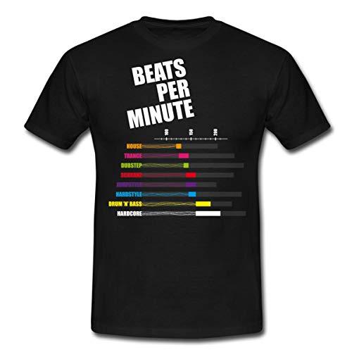 Spreadshirt BPM Beats per Minute Männer T-Shirt, L, Schwarz