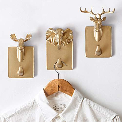 Gu3Je Kreativ Tier Form Wandhaken Kleiderhaken - Mini Tierstilen, geeignet für Dekoration, Kleidung, Schlüssel, Taschenaufhängung Goldenes Pferd
