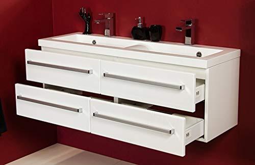 Quentis Doppelwaschplatz Genua 120, Waschplatzset 3-teilig, weiß glänzend, 4 Schubladen