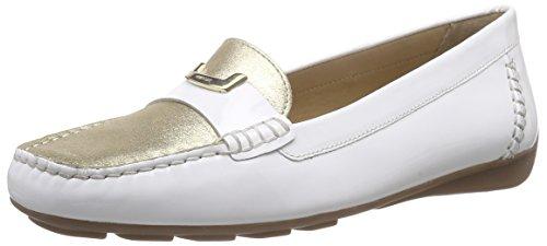 Geox D GRIN B, Mocassins (loafers) femme Blanc - Weiß (WHITE/LT GOLDC1327)
