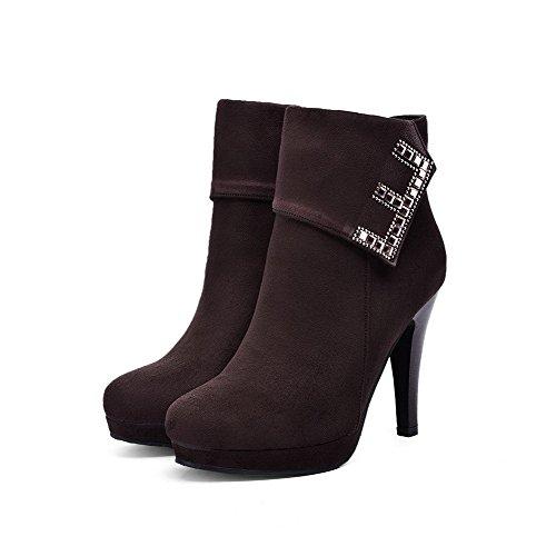 AllhqFashion Damen Reißverschluss Hoher Absatz Eingelegt Stiefel mit Beschlagene Strass Braun