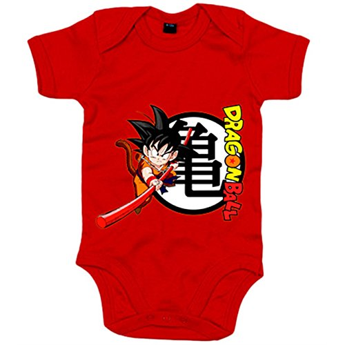 Body bebé Dragon Ball Son Goku bastón y logo - Rojo, 6-12 meses