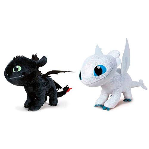 Dragons- How to Train Your Dragon 3 Furia Chiara Peluche con Effetto Glow in The Dark, Colore Bianco, 40 cm, 85278