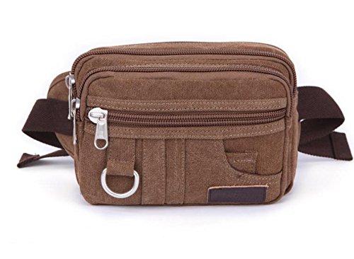 MJ Große Kapazität outdoor camping Reiten Multifunktions Taschen einzelne Schulter Retro-Taschen COFFEECOLOR