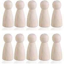 OULII 10pcs BRICOLAJE clavija de madera en blanco llano muñecas novia figuras Toppers de pastel de boda decoración de la Navidad