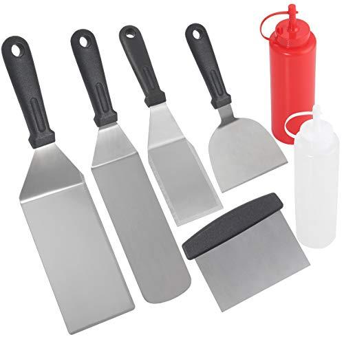 POLIGO 7 Teilig Professionelles Grillspachtel Set - Kommerzielle Qualität Edelstahl Metallspachtel und Grillschaber für Männer - Schwerer Spachtel Grillzubehör für Camping Gusseisengrill, Flachgrill