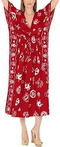 LA LEELA Pumkin Scary Horror Grusel Ghosts Halloween Kostüm Damen überdimensional Maxi Gedruckt Kimono Kaftan Tunika Top Freie Größe Loungewear Urlaub Nachtwäsche Strand jeden Tag Kleider Rot_B790 (Damen Ghost Kostüm)
