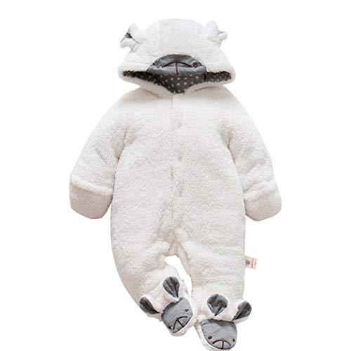 Kigurumi Baby Strampelanzug mit Füssen, Mütze für Jungen und Mädchen, mit Kapuze, für 0-36 Monate, Halloween, Cosplay-Kostüm 90cm(18-24M) weiß