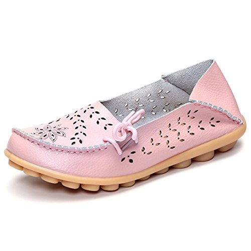 Tezoo Damen Slipper, Mokassins Bootsschuhe Low-Top Leder-Flach-Schuhe Hausschuhe Schnitzerei Espadrilles Rosa-39 39