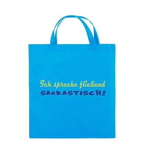 Comedy Bags - Ich spreche fließend Sarkastisch! - Jutebeutel - kurze Henkel - 38x42cm - Farbe: Schwarz / Weiss-Neongrün Hellblau / Hellgrün-Royalblau