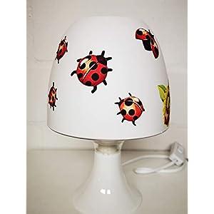 ✿ Tischlampe ✿ MARIENKÄFER Punkte Blumen Gras personalisiert Name ✿ Tischleuchte ✿ Schlummerlicht ✿ Nachttischlampe ✿ Lampe ✿