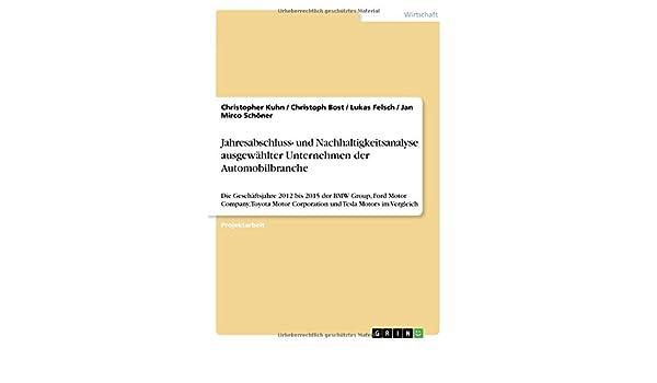 Jahresabschluss- und Nachhaltigkeitsanalyse ausgewählter Unternehmen ...
