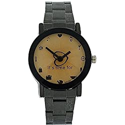 Kevin Ladies It's Time For.... Faceted Dial Gun Metal Bracelet Strap Watch