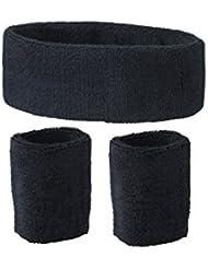 Schweißband Set 3 tlg. Für Kopf und Arm - schwarz