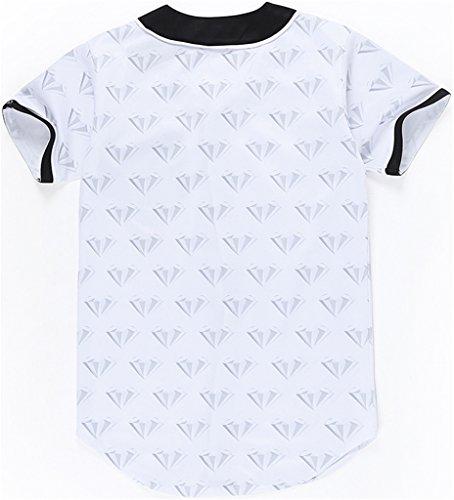 Pizoff Herren Lässig Hip-Hop T-Shirts Tops mit Knöpfen und Bunt Muster Y1724-40