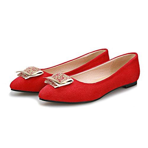 Senhoras Do Do Baixo Vermelhos Para Mover Bombas Pé Nobuk Allhqfashion Dedo Pontas se Sapatos Calcanhar Puramente AqUrA0S