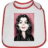 Bavoir bebe rouge caricature de michael jackson 2