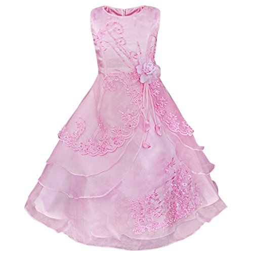 iEFiEL Girls Embroidered Flower Dress Layered Formal Wedding Party Bridesmaid Dresses Prom Ball Gown