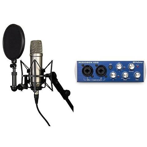 Rode NT-1A Großmembran-Kondensatormikrofon mit goldbedampfter und elastisch gelagerter 2,5 cm (1 Zoll) Nierenkapsel + Presonus AudioBox Kompaktes 2x2 USB Recording-Interface