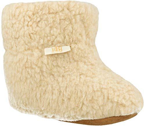 RBJ leather shoes . Warme Hüttenhausschuhe aus Schafwolle 100% Wolle Herren Damen Hüttenschuhe (40 EU, Weiß 953)