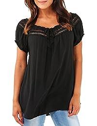 Yeamile Camiseta de Mujer Tops Negro Blusa de Verano Ocasionales Blusa de