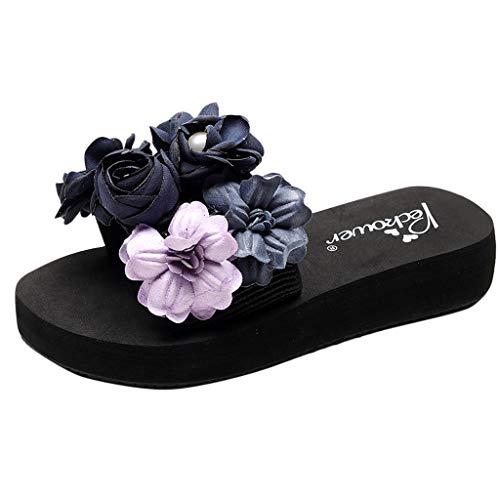 LILIHOT Frauen Sandalen Hausschuhe Mädchen Blumen Keile Böhmischen Stil Strandschuhe Damen Flip Flops Roman Schuhe Sommer Hausschuhe -