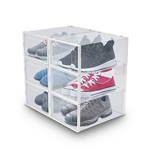 Juego de 6 Cajas para Zapatos de águila, Plegables y apilables, con Puerta Transparente, Caja de Almacenamiento...