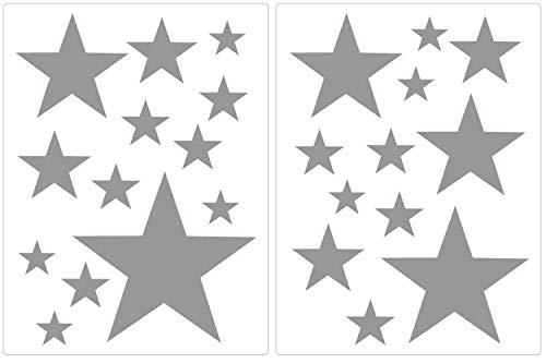 PREMYO 25 Sterne Wandsticker Kinderzimmer Mädchen Jungen - Wandtattoo - Wandaufkleber Selbstklebend Grau