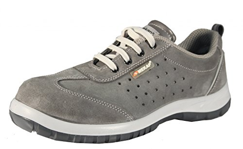jeriko 240–Unisex Adultos Trabajo & Seguridad Zapatillas de S1–SRC mekap Safety Shoes Footwear con Piel o Ante Terciopelo Suede, Color Negro, Talla 42
