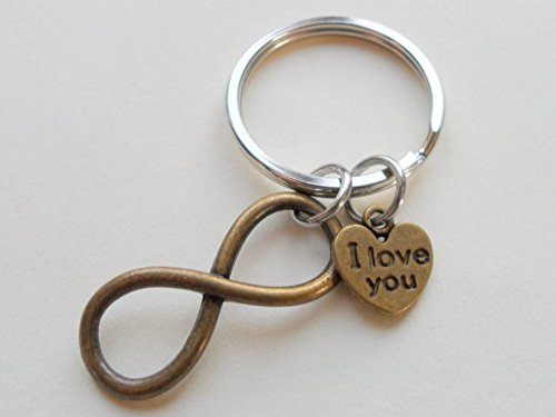 I Love You Heart Charm with Bronze Infinity Symbol Keychain