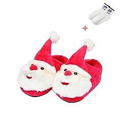 Idea Regalo - Pantofole Babbo Natale Calde Peluche Unisex Scarpe Ciabatte Natalizie Antiscivolo Inverno Pantofole