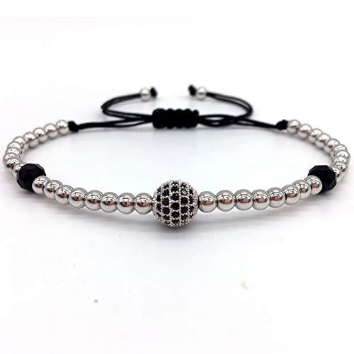 DIY Design pflastern cz Ball Charme Armband männer Frauen geflochtene makramee Kupfer perlen schmuck Geschenk für männer Frauen ()