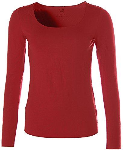 Jette Damen Basic Langarm Shirt T-Shirt Rundhals Dunkelrot 42